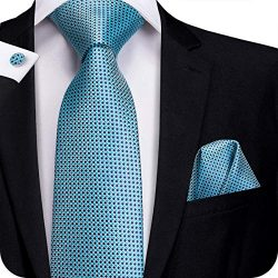 Hi-Tie Silk Neckties Plaid Check Jacquard Tie Pocket Square Cufflinks Set Gift Box (Little Blue  ...
