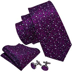 Barry.Wang Fashion Silk Ties Set Flower Handkerchief Cuff links Wedding