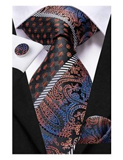 Dubulle Mens Brown Paisely Silk Tie and Pocket Square Set Business Necktie with Handkerchief