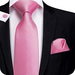 Hi-Tie Silk Neckties Plaid Check Jacquard Tie Pocket Square Cufflinks Set Gift Box (little pink  ...
