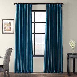 Half Price Drapes PTCH-JTSP001-84 Faux Silk Taffeta Curtain, Azul