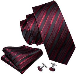 Barry.Wang Neckties Silk Tie Handkerchief Cufflinks Wedding Business Black and Red