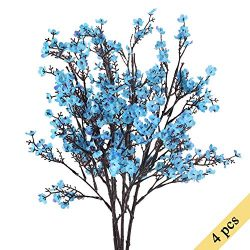 NAHUAA 4PCS Blue Babys Breath Artificial Flowers Fake Silk Real Touch Floral Bouquet Home Office ...