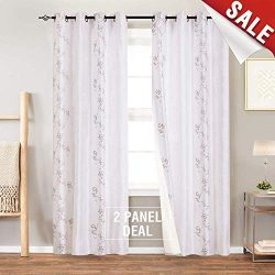 jinchan Floral Embroidered Curtains for Bedroom Faux Silk Semi Sheers Embroidery Window Curtain  ...