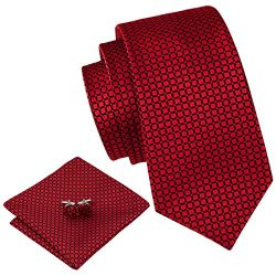 Barry.Wang Plaid Ties for Men Silk Necktie Set Pocket Square Cufflink Wedding