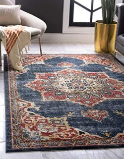 Unique Loom Utopia Collection Traditional Medallion Vintage Warm Tones Dark Blue Area Rug (4R ...