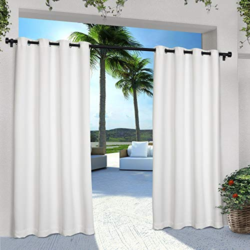 Exclusive Home Curtains Indoor/Outdoor Solid Cabana Window Curtain Panel Pair with Grommet Top,  ...