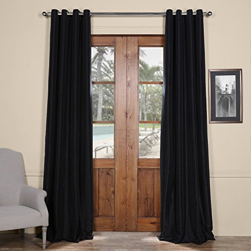 PTCH-BO41-84-GR Grommet Faux Silk Taffeta Curtain, Black, 50 x 84″