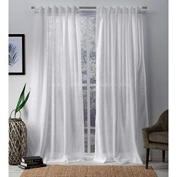 Exclusive Home Bella Sheer Hidden Tab Top Curtain Panel Pair, Winter White, 54×96