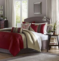 Madison Park Amherst King Size Bed Comforter Set Bed in A Bag – Burgundy, Taupe, Pieced St ...