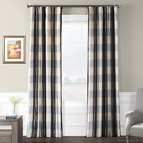Pts-SLK100-84 Faux Silk Plaid Curtain, 50 x 84, Essex