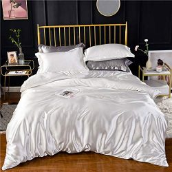 White Ivory Luxury Silk Bedding Set. Include Silk Duvet Cover, Silk Pillow Sham and Silk Fitted  ...