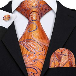 Barry.Wang Fashion Silk Tie Set Handkerchief Cufflink Orange Paisley