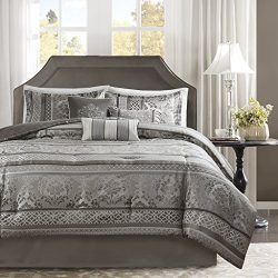 Madison Park Bellagio Queen Size Bed Comforter Set Bed in A Bag – Grey, Jacquard Damask –  ...