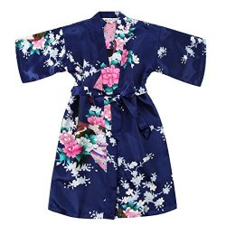 Toddler Girls' Satin Kimono Robe Peacock Blossoms Bathrobes Weeding Gown SFA Wedding Birth ...