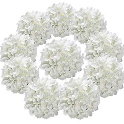 Flojery Silk Hydrangea Heads Artificial Flowers Heads for Home Wedding Decor,Pack of 10 (White)