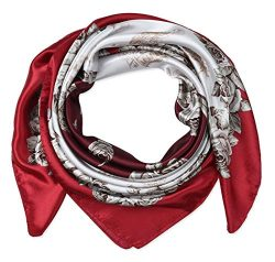 corciova 35″ Women's Polyester Silk Feeling Square Hair Scarf Headscarf Rosso Corsa  ...
