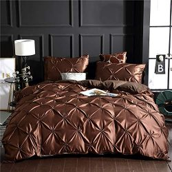 Pintuck Duvet Cover Set Brown Silk Like Satin Bedding Pinch Pleated Design Solid Dark Brown Silk ...