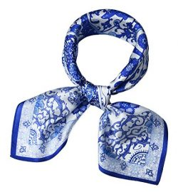 corciova Women 100% Mulberry Silk Neck Scarf Small Square Scarves Neckerchiefs Flowers Blue and  ...