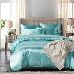 NAIVON Duvet Cover Set Silk Like Satin Bedding,3-Piece Feeling Lightweight Soft Bedding Set,with ...