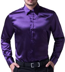 Men's Solid Color Shiny Satin Silk Like Dance Prom Dress Shirt(S,Purple)