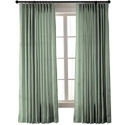 ChadMade Vintage Textured Extra Wide Faux Dupioni Silk Drape Curtain Panel Pinch Pleated 100&#82 ...