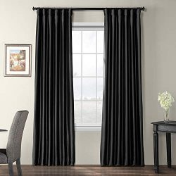 Half Price Drapes PTCH-BO41-108 Blackout Faux Silk Taffeta Curtain, Black