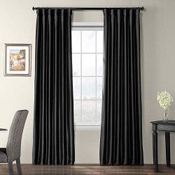 Half Price Drapes PTCH-BO41-108 Blackout Faux Silk Taffeta Curtain, Black