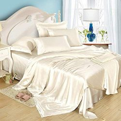 Dream Bedding Silk Sheet Set 4 Pcs, Silk Bed Sheets, Luxury Bedding Sets -Ultra Soft, Hypoallerg ...