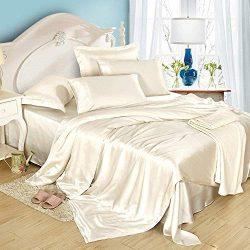 Dream Bedding Silk Sheet Set 4 Pcs, Silk Bed Sheets, Luxury Bedding Sets -Ultra Soft, Hypoallerg ...