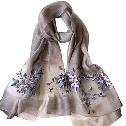 Womens printing Embroidery Long Scarf Lightweight Wrap Shawl Silk Scarf (2#)