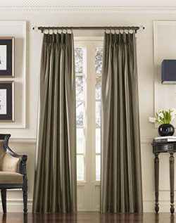Curtainworks Marquee Faux Silk Pinch Pleat Curtain Panel, 30 by 108″, Bronze