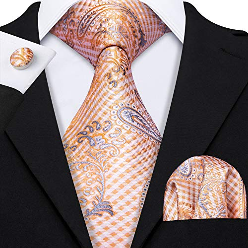 Barry.Wang Orange Paisley Ties Silk Pocket Square Cufflink Wedding Business
