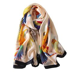 FM Womens Mulberry Silk Scarves Long Satin Lightweight Scarf For Women (P)