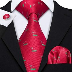 Barry.Wang Red and Green Ties Woven Silk Necktie Set Wedding Party