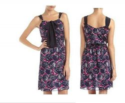 Tory Burch Monica Abstract-Print Tie-Neck Dress, Orchid/Navy (Large)