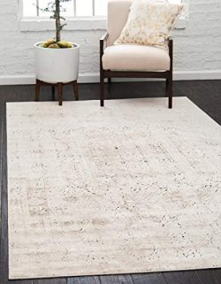 Unique Loom Chateau Collection Distressed Vintage Traditional Textured Beige Area Rug (5′  ...