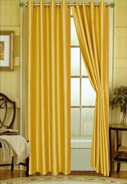 Editex Home Curtain Faux Silk Panel with Grommets, 108″, Yellow, Pack of 1 Panel