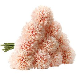 CQURE Artificial Flowers, Fake Flowers Silk Plastic Artificial Hydrangea 10 Heads Bridal Wedding ...