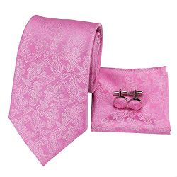 Hi-Tie Pink Tie Woven Silk Tie Pocket Square and Cufflinks Gift Box Set Mens Wedding Tie (Light  ...