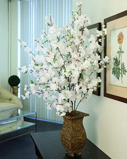 "Larksilk 36"" Tall White Artificial Cherry Blossom Branches – White Silk Flowers for  ..."