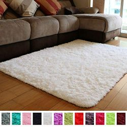 PAGISOFE Soft Comfy White Area Rugs for Bedroom Living Room Fluffy Shag Fur Carpet for Kids Nurs ...