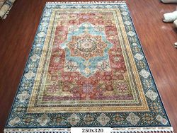 Yuchen VTG Large Red Turkish Orienal Hand Knotted Handmade Persian Silk Area Rug Carpet