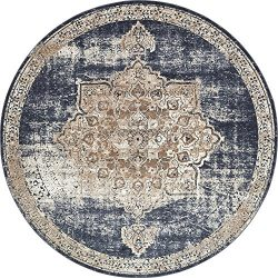 Unique Loom Chateau Collection Distressed Vintage Traditional Textured Dark Blue Round Rug (8&#8 ...