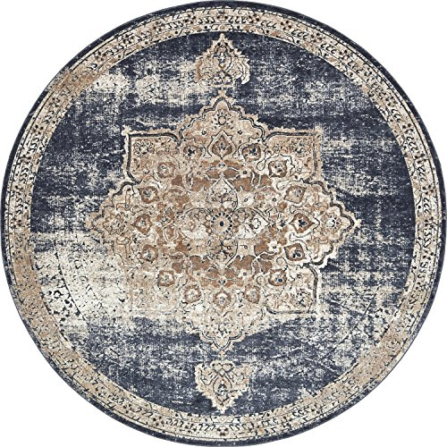 Unique Loom Chateau Collection Distressed Vintage Traditional Textured Dark Blue Round Rug (8 ...