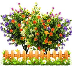 LUCKY SNAIL Artificial Fake Flowers, Faux Outdoor UV Resistant Boxwood Shrubs Plants, Lifelike P ...