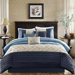 Madison Park Serene Queen Size Bed Comforter Set Bed in A Bag – Navy, Embroidered – 7 Piec ...