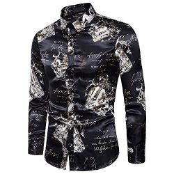 YIMANIE Mens Regular Fit Long Sleeve Shiny Silk Like Satin Dance Prom Luxury Dress Shirt Camoufl ...