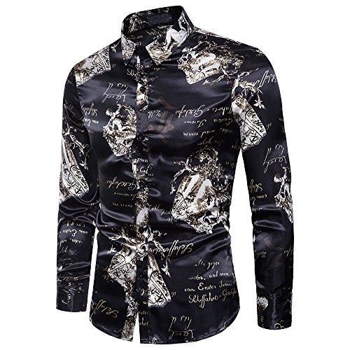 YIMANIE Mens Regular Fit Long Sleeve Shiny Silk Like Satin Dance Prom Luxury Dress Shirt Camoufl ...