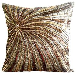 The HomeCentric Handmade Brown Cushion Covers, Sequins & Beaded Spiral Glitter Pillows Cover ...